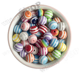 WHITE 16mm Striped Gumball Beads - WhimsyandPOP