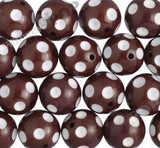 BROWN 20mm Polka Dot Gumball Beads - WhimsyandPOP