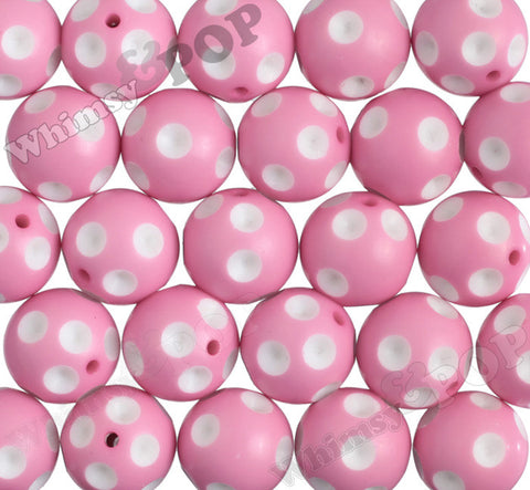 PINK LEMONADE 20mm Polka Dot Gumball Beads - WhimsyandPOP