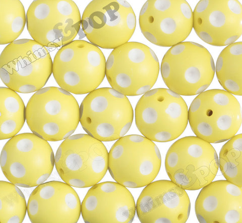 LEMON YELLOW 20mm Polka Dot Gumball Beads - WhimsyandPOP