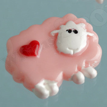 Pink Love Sheep Cabochons