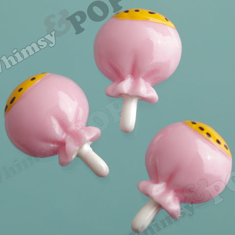 Pink Candy Lollipop Cabochons