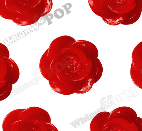 RED 18mm Flower Cabochons