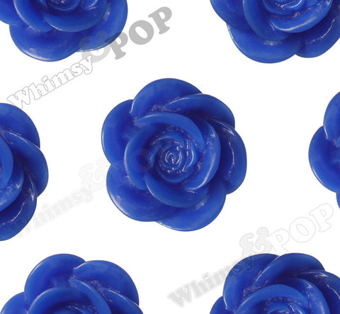 ROYAL BLUE 18mm Flower Cabochons - WhimsyandPOP