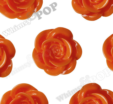 ORANGE 18mm Flower Cabochons