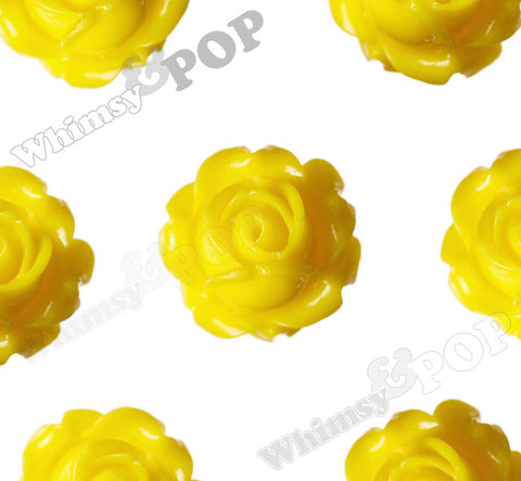 YELLOW 15mm Vintage Rose Bud Flower Cabochons - WhimsyandPOP