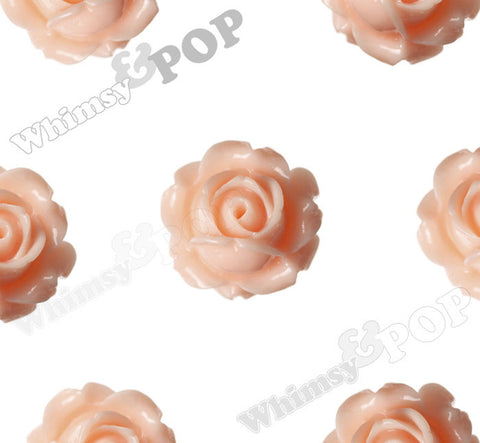 SHABBY CHIC PEACH 15mm Vintage Rose Bud Flower Cabochons - WhimsyandPOP