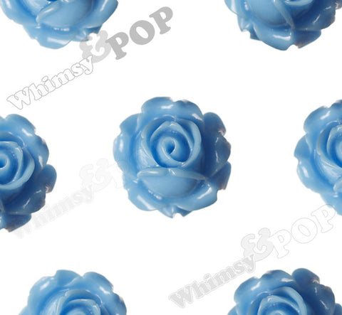 LIGHT BLUE 15mm Vintage Rose Bud Flower Cabochons - WhimsyandPOP
