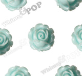 AQUA BLUE 15mm Vintage Rose Bud Flower Cabochons - WhimsyandPOP