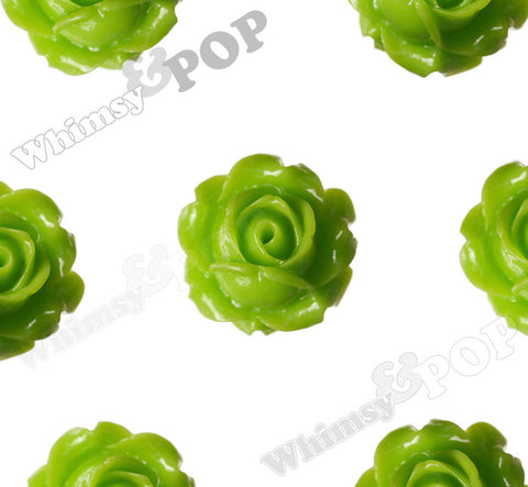 GREEN APPLE 15mm Vintage Rose Bud Flower Cabochons - WhimsyandPOP