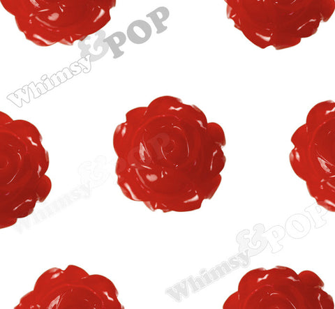 RED 15mm Vintage Rose Bud Flower Cabochons