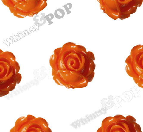ORANGE 15mm Vintage Rose Bud Flower Cabochons