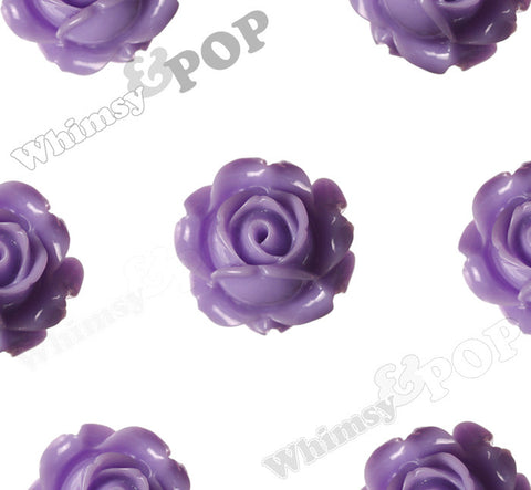 LAVENDER PURPLE 15mm Vintage Rose Bud Flower Cabochons - WhimsyandPOP