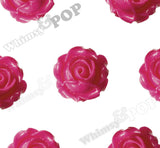 HOT PINK 15mm Vintage Rose Bud Flower Cabochons - WhimsyandPOP