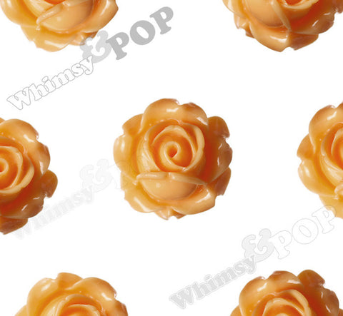 SORBET ORANGE 15mm Vintage Rose Bud Flower Cabochons