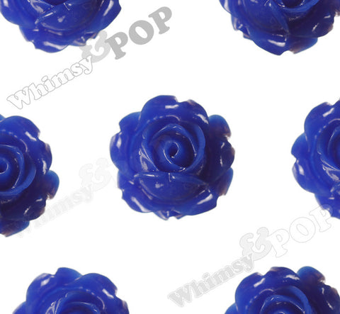 ROYAL BLUE 15mm Vintage Rose Bud Flower Cabochons