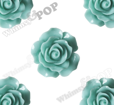 MINT GREEN 20mm Large Detailed Flower Cabochons - WhimsyandPOP
