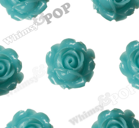 TEAL GREEN 15mm Vintage Rose Bud Flower Cabochons - WhimsyandPOP