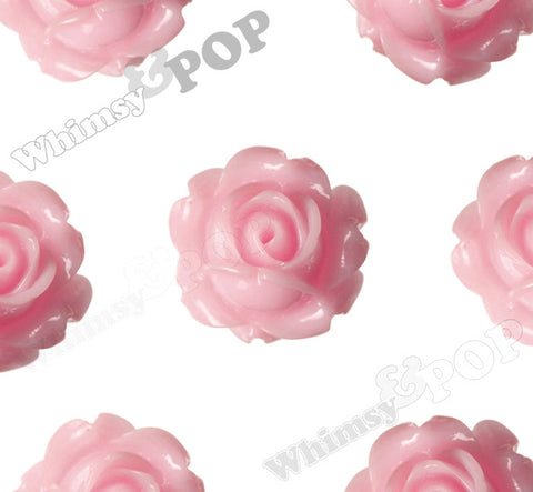 PINK 15mm Vintage Rose Bud Flower Cabochons