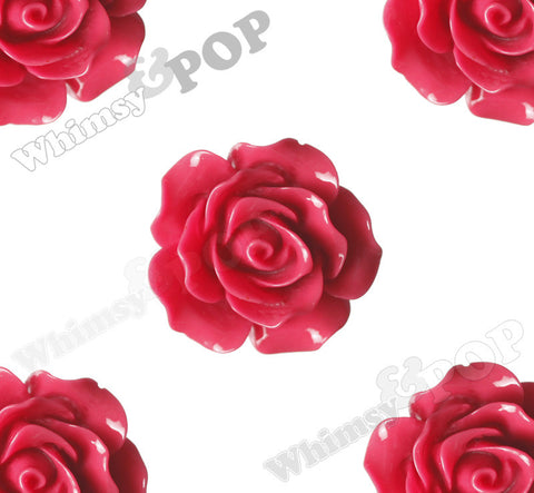ROSE RED 20mm Large Detailed Flower Cabochons - WhimsyandPOP