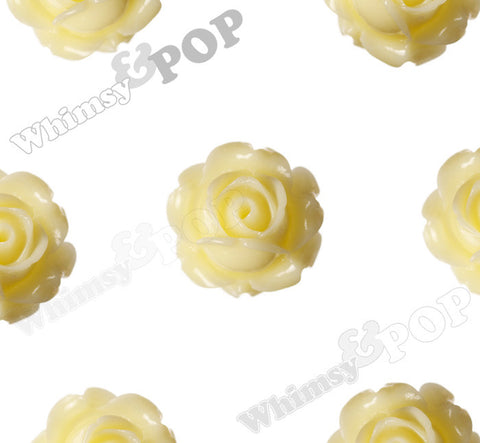 YELLOW IVORY 15mm Vintage Rose Bud Flower Cabochons - WhimsyandPOP
