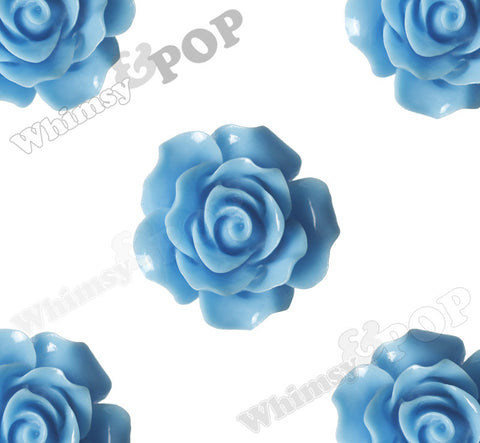 LIGHT BLUE 20mm Large Detailed Flower Cabochons - WhimsyandPOP