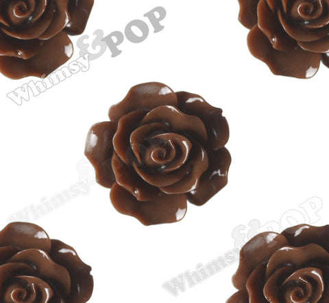 BROWN 20mm Large Detailed Flower Cabochons - WhimsyandPOP