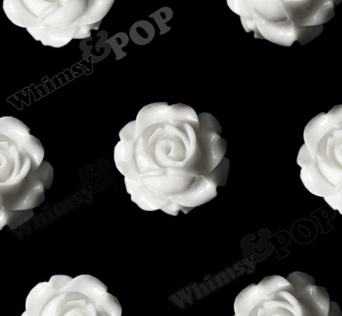 WHITE 15mm Vintage Rose Bud Flower Cabochons - WhimsyandPOP