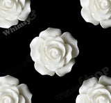 WHITE 20mm Large Detailed Flower Cabochons - WhimsyandPOP