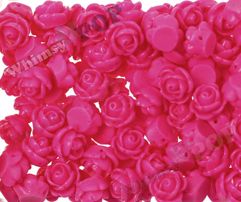 HOT PINK 9mm Rose Bud Flower Beads - WhimsyandPOP