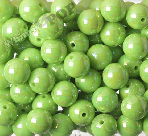 GREEN 20mm Glossy AB Gumball Beads - WhimsyandPOP