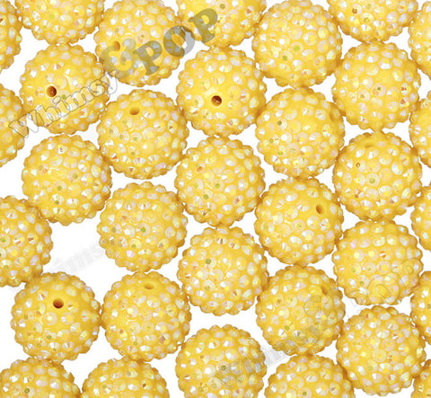 YELLOW 20mm Crystal AB Rhinestone Gumball Beads - WhimsyandPOP