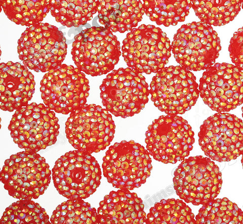 RED 20mm Crystal AB Rhinestone Gumball Beads - WhimsyandPOP