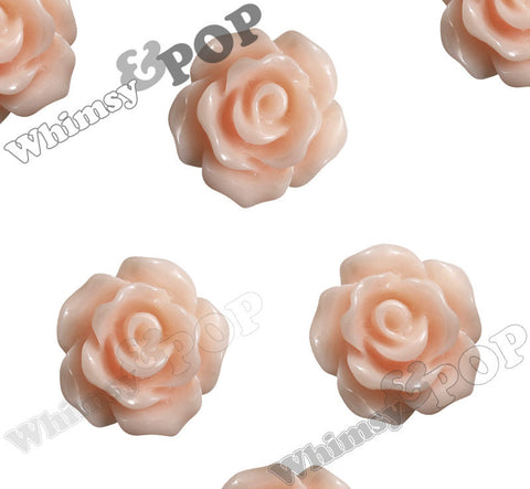 SHABBY CHIC PEACH 10mm Small Detailed Flower Cabochons - WhimsyandPOP