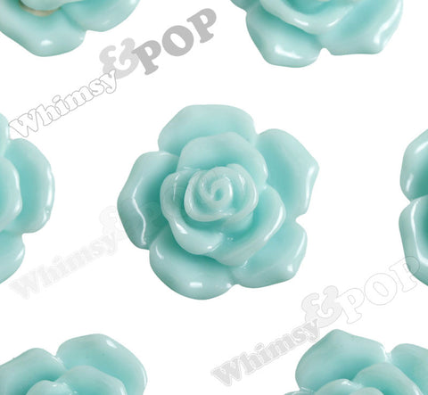 AQUA BLUE 16mm Pointy Rose Flower Cabochons - WhimsyandPOP