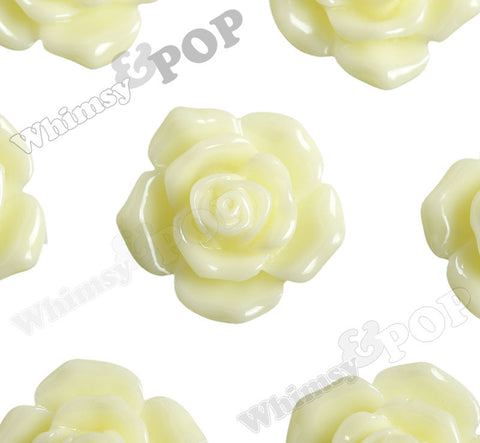 YELLOW IVORY 16mm Pointy Rose Flower Cabochons - WhimsyandPOP