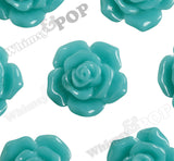 TEAL GREEN 16mm Pointy Rose Flower Cabochons - WhimsyandPOP