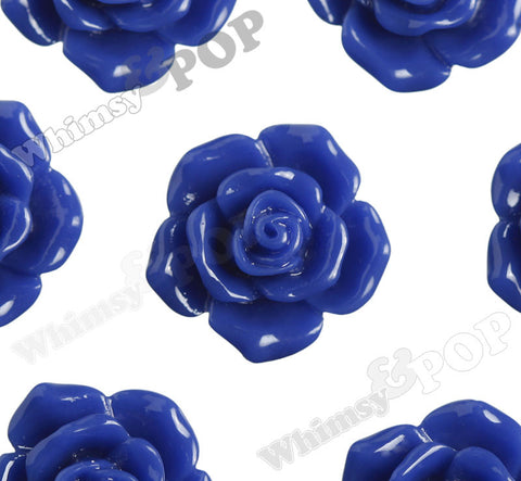 ROYAL BLUE 16mm Pointy Rose Flower Cabochons