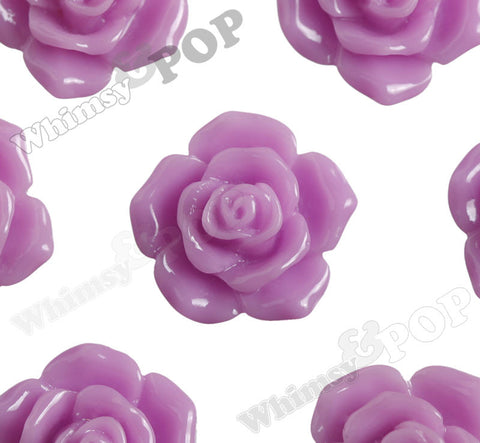 LILAC PURPLE 16mm Pointy Rose Flower Cabochons