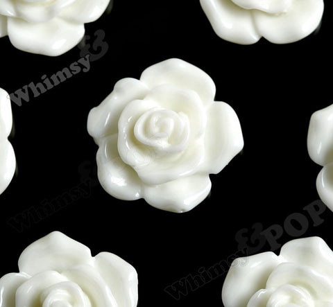 WHITE 16mm Pointy Rose Flower Cabochons - WhimsyandPOP