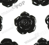 BLACK 16mm Pointy Rose Flower Cabochons - WhimsyandPOP