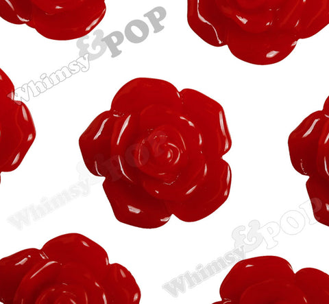 RED 16mm Pointy Rose Flower Cabochons