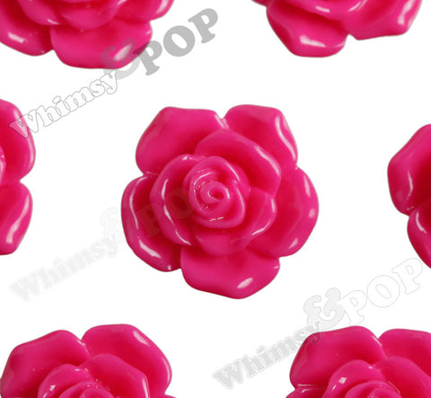 HOT PINK 16mm Pointy Rose Flower Cabochons - WhimsyandPOP