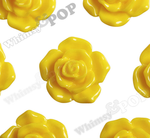YELLOW 16mm Pointy Rose Flower Cabochons - WhimsyandPOP