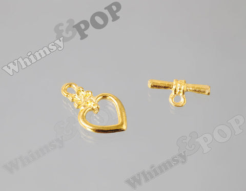 Heart Shaped Toggle Set - Gold Tone - WhimsyandPOP