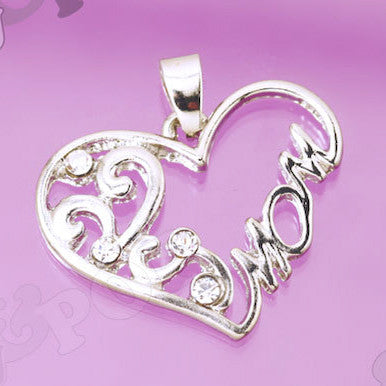 Rhinestone Heart Mom Inscribed Charms