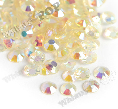 SS16 Soft Yellow Crystal AB Faceted Flat Back Resin Rhinestones