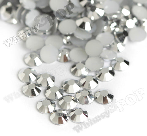 SS16 Silver Faceted Flat Back Resin Rhinestones