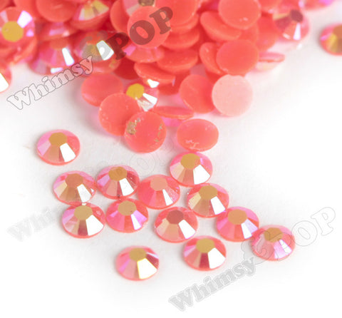 SS16 Jelly Neon Coral Orange Crystal AB Faceted Flat Back Resin Rhinestones