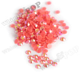 SS16 Jelly Neon Coral Orange Crystal AB Faceted Flat Back Resin Rhinestones - WhimsyandPOP